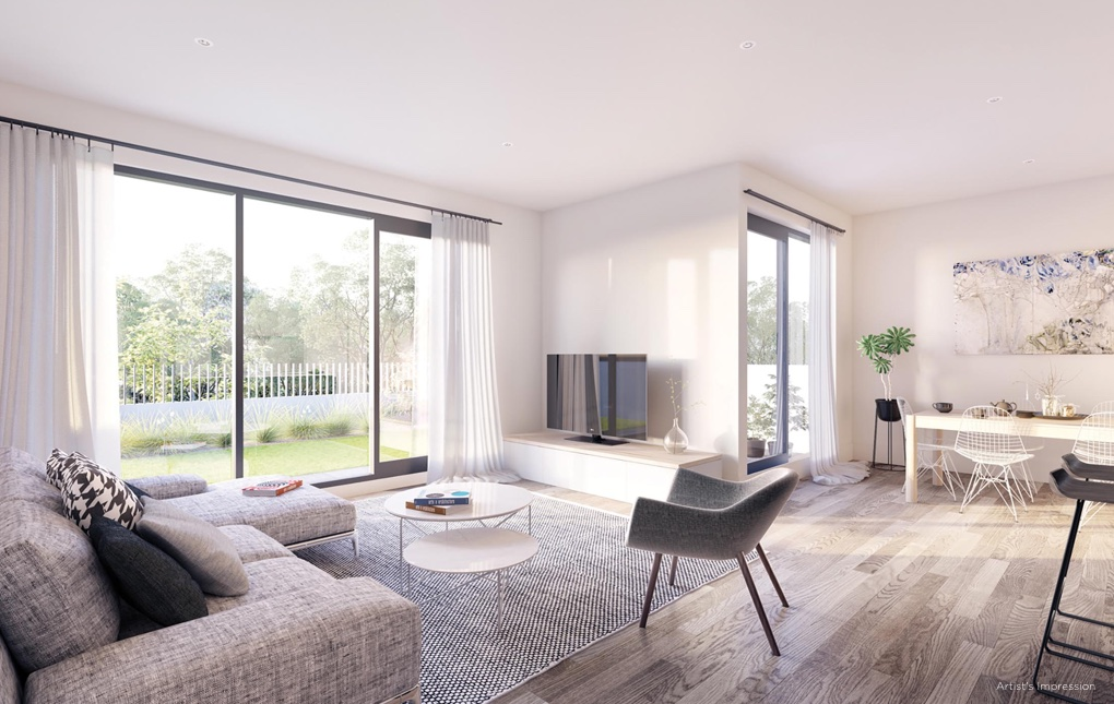Yarraman Village Living Room | Townhouses for sale